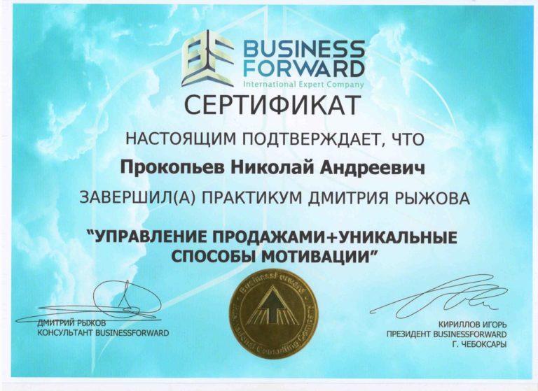 Сертификат бизнес-школы по практикуму Дмитрия Рыжова
